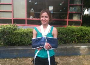 Leaving VGH following fractures to the neck of the radius of both arms.